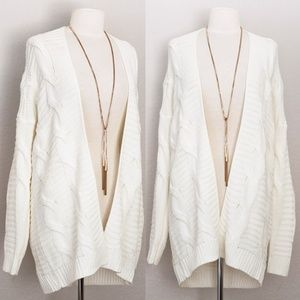 Ivory White Chunky Cable Knit Long Open Cardigan